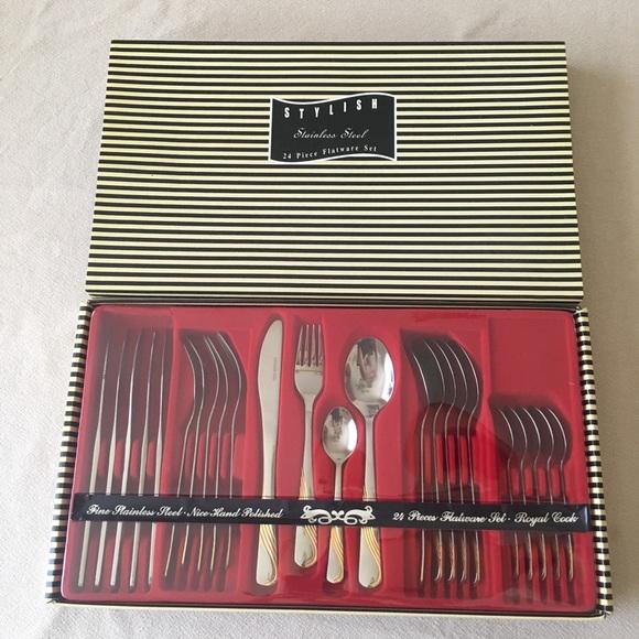 Vintage Other - Stateless Steel Silver 24 Piece Set